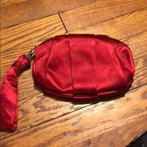BCBg Red Satin Clutch/Wristlet